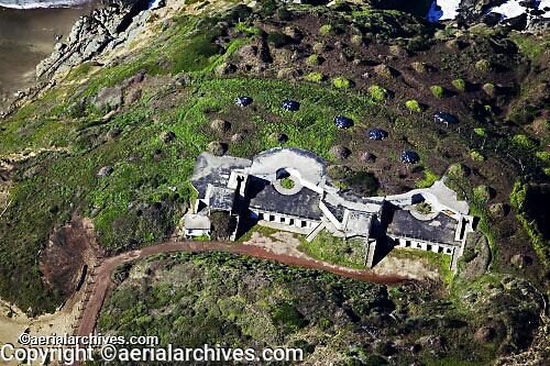aerial photograph of World War II bunkers in the San Francisco Presidio, Golden Gate National Recreation Area, San Francisco, California