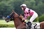 June 8, 2013. #2 Power Broker, Rosie Napravnik up, wins race six, The Easy Goer, one mile and three sixteenths, for three-year-olds. They head to the winner's circle. Belmont Park, Elmont, New York (Joan Fairman Kanes/Eclipse Sportswire)