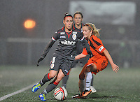 20131017 - GLASGOW , SCOTLAND :  Standard's Audrey Demoustier (left) pictured with Glasgow's  Denise O'Sullivan in her back during the female soccer match between GLASGOW City Ladies FC and STANDARD Femina de Liege , in the 1/16 final ( round of 32 ) second leg in the UEFA Women's Champions League 2013 in Petershill Park in Glasgow. First leg ended in a 2-2 draw . Thursday 17 October 2013. PHOTO DAVID CATRY