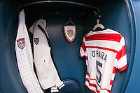 The locker for Kelley O'Hara (5) of the United States (USA). The United States (USA) and Germany (GER) played to a 2-2 tie during an international friendly at Rentschler Field in East Hartford, CT, on October 23, 2012.
