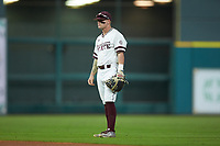 Mississippi State Bulldogs second baseman Hunter Stovall (13) on defense against the Houston Cougars in game six of the 2018 Shriners Hospitals for Children College Classic at Minute Maid Park on March 3, 2018 in Houston, Texas. The Bulldogs defeated the Cougars 3-2 in 12 innings. (Brian Westerholt/Four Seam Images)