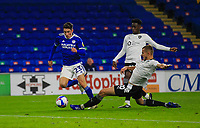 3rd November 2020; Cardiff City Stadium, Cardiff, Glamorgan, Wales; English Football League Championship Football, Cardiff City versus Barnsley; Harry Wilson of Cardiff City tries to skip past the challenge from Michal Helik of Barnsley but is brought down for a penalty