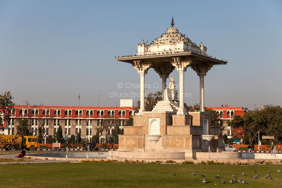 Jaipur, Rajasthan, India.  Sawai Jai Singh Traffic Circle, in honor of the founder of Jaipur.