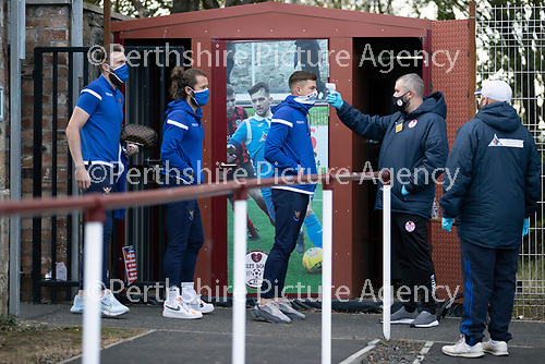 Kelty Hearts v St Johnstone…07.10.20   New Central Park  Betfred Cup<br />Callum Hendry, Stevie May and Zander Clark have their temperatures checked on arrival at New Central Park<br />Picture by Graeme Hart.<br />Copyright Perthshire Picture Agency<br />Tel: 01738 623350  Mobile: 07990 594431