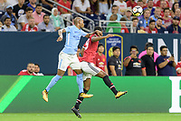 Houston, TX - Thursday July 20, 2017: Fernandinho and Romelu Lukaku during a match between Manchester United and Manchester City in the 2017 International Champions Cup at NRG Stadium.