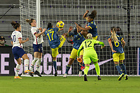 ORLANDO, FL - JANUARY 22: Carolina Arias #17, Jorelyn Carabalí #16 clear the ball off the line as Catalina Usme #11  looks on during a game between Colombia and USWNT at Exploria stadium on January 22, 2021 in Orlando, Florida.