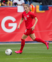 CARSON, CA - FEBRUARY 9: Janine Beckie #16 of Canada saves a ball during a game between Canada and USWNT at Dignity Health Sports Park on February 9, 2020 in Carson, California.