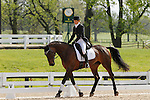 LEXINGTON, KY - APRIL 28: #16 Courage Under Fire and rider Katherine Coleman in the warm up ring before their Dressage test in the Rolex Three Day Event, Dressage Day 1, at the Kentucky Horse Park in Lexington, KY.  April 28, 2016 in Lexington, Kentucky. (Photo by Candice Chavez/Eclipse Sportswire/Getty Images)
