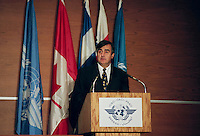 Montreal (Qc) CANADA - December 5, 1996<br /> -File Photo -<br /> Lucien Bouchard at the opening of the International Civil Aviation Organization (ICAO)-OACI new headquarter in Montreal.<br /> <br /> Bouchard was the Premier of Quebec from January 26, 1996 to March 8, 2001.