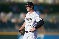 Charlotte Knights first baseman Casey Gillaspie (13) on defense against the Toledo Mud Hens at BB&T BallPark on June 22, 2018 in Charlotte, North Carolina. The Mud Hens defeated the Knights 4-0.  (Brian Westerholt/Four Seam Images)