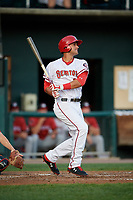 Harrisburg Senators Drew Ward (17) hits a single during a game against the Erie SeaWolves on August 29, 2018 at FNB Field in Harrisburg, Pennsylvania.  Harrisburg defeated Erie 5-4.  (Mike Janes/Four Seam Images)