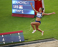 26th August 2021; Lausanne, Switzerland;  Ivana Spanovic of Serbia during womens long jump at Diamond League athletics meeting  at La Pontaise Olympic Stadium in Lausanne, Switzerland.