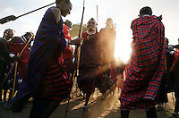 "In Meshili (subvillage of Olbalbal) in the NCA, they are having a milk ceremony.  The name of the family having the ceremony is Nakiti.  A milk ceremony is the first step of a warrior becoming an elder.  This is basically a feast and dancing in a remote corner of the NCA overlooking Olduvai gorge.  Maasai drink blood from the bull as they slaughter it...Maasai warriors drink a kind of soup from bark and other ingredients that helps them ""purge"" the demons of killing other animals or having their friends killed.  They convulse and it takes two or three other Maasai warriors to hold them."