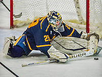 29 December 2013:  Canisius College Golden Griffins goaltender Adam Harris, a Sophomore from Penticton, British Columbia, makes a third period save against the University of Vermont Catamounts at Gutterson Fieldhouse in Burlington, Vermont. The Catamounts defeated the Golden Griffins 6-2 in the 2013 Sheraton/TD Bank Catamount Cup NCAA Hockey Tournament. Mandatory Credit: Ed Wolfstein Photo *** RAW (NEF) Image File Available ***