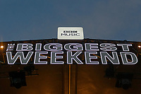 Pictured: BBC Music Biggest Weekend sign on top of the stage. Saturday 26 May 2018<br /> Re: BBC Radio 1 Biggest Weekend at Singleton Park in Swansea, Wales, UK.