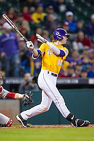 LSU Tigers second baseman Grayson Byrd (10) swings the bat during the Houston College Classic against the Nebraska Cornhuskers on March 8, 2015 at Minute Maid Park in Houston, Texas. LSU defeated Nebraska 4-2. (Andrew Woolley/Four Seam Images)