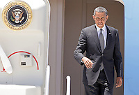 President Barack Obama waves as he exits Air Force One  arriving in Las Vegas, Thursday, June 7, 2012.   Obama will speak at the University of Nevada, Las Vegas, to promote ways to help students pay off loans in a struggling economy.  (Photo John Gurzinski)