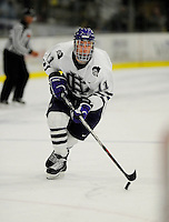 30 December 2007: Holy Cross Crusaders' forward Everett Sheen, a Freshman from Lethbridge, Alberta, in action against the Western Michigan University Broncos at Gutterson Fieldhouse in Burlington, Vermont. The teams skated to a 1-1 tie, however the Broncos took the consolation game in a 2-0 shootout to win the third game of the Sheraton/TD Banknorth Catamount Cup Tournament...Mandatory Photo Credit: Ed Wolfstein Photo