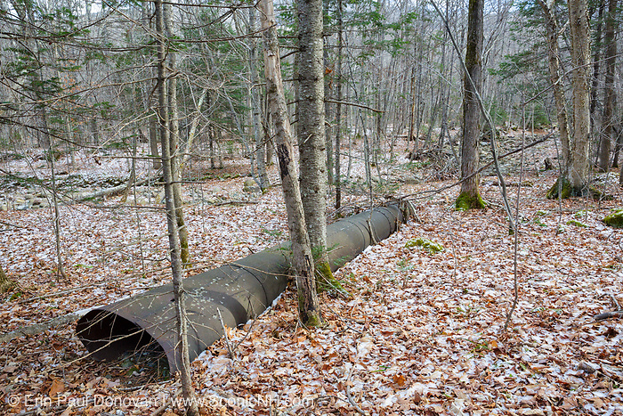 Remnants of possibly an abandoned sawmill along Tunnel Brook in Benton, New Hampshire USA. Based on an 1860 historical map of Grafton County this is possibly the site of Jonathan Hunkings Saw Mill.