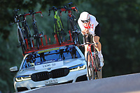 9th September 2021; Trento, Trentino–Alto Adige, Italy: 2021 UEC Road European Cycling Championships, Mens Individual time trials: Stefan KUNG (SUI) on his way to winning the trials