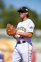 Surprise Saguaros Eric Wood (12), of the Pittsburgh Pirates organization, during a game against the Peoria Javelinas on October 20, 2016 at Surprise Stadium in Surprise, Arizona.  Peoria defeated Surprise 6-4.  (Mike Janes/Four Seam Images)