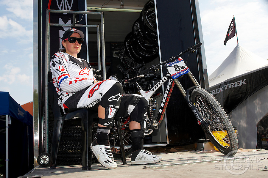 Tracy Moseley with DH bike on Trek world racing team bus ..Fort William World Cup Downhill Mountain bike event June 2010..pic copyright Steve Behr / Stockfile