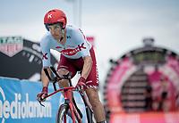 Reto Hollenstein (SUI/Katusha-Alpecin) off the start ramp<br /> <br /> Stage 9 (ITT): Riccione to San Marino (34.7km)<br /> 102nd Giro d'Italia 2019<br /> <br /> ©kramon