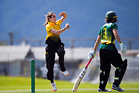 Xara Jetly bowls during the women's Hallyburton Johnstone Shield one-day cricket match between the Wellington Blaze and Central Hinds at Donnelly Park in Levin, New Zealand on Sunday, 6 December 2020. Photo: Dave Lintott / lintottphoto.co.nz