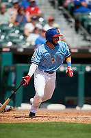 Buffalo Bisons Forrest Wall (5) at bat during an International League game against the Pawtucket Red Sox on August 25, 2019 at Sahlen Field in Buffalo, New York.  Buffalo defeated Pawtucket 5-4 in 11 innings.  (Mike Janes/Four Seam Images)