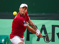 Austria, Kitzbühel, Juli 17, 2015, Tennis, Davis Cup, Second match between Robin Haase (NED and Andreas Haider-Maurer (AUT), pitctured: Andreas Haider-Maurer<br /> Photo: Tennisimages/Henk Koster