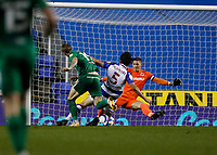 4th November 2020; Madejski Stadium, Reading, Berkshire, England; English Football League Championship Football, Reading versus Preston North End; Scott Emil Riis Jakobsen of Preston North End shoots and scores his sides 2nd goal in the 68th minute to make it 0-2