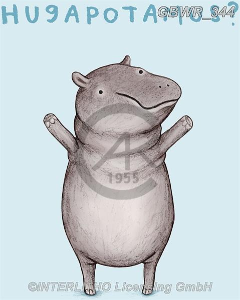 Simon, REALISTIC ANIMALS, REALISTISCHE TIERE, ANIMALES REALISTICOS, innovativ, paintings+++++SophieCorrigan_Hugapotamus,GBWR344,#a#, EVERYDAY