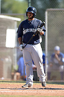 Seattle Mariners catcher Georvic Perez (50) during an instructional league game against the Kansas City Royals on October 2, 2013 at Surprise Stadium Training Complex in Surprise, Arizona.  (Mike Janes/Four Seam Images)