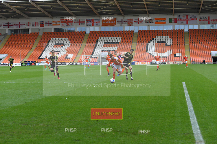 09/05/2021 Sky Bet League 1 Blackpool v Bristol Rovers  <br /> <br /> Jack Baldwin fouls Brad Holmes