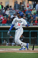 Ibandel Isabel (34) of the Rancho Cucamonga Quakes bats against the Lancaster JetHawks at The Hanger on April 28, 2017 in Lancaster, California. Lancaster defeated Rancho Cucamonga, 16-10. (Larry Goren/Four Seam Images)