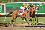 07-04-10: Discreetly Mine, John Velazquez up, wins the GIII Jersey Shore Stakes.
