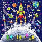 Kate, CHILDREN, KINDER, NIÑOS, paintings+++++,GBKM742,#k#, EVERYDAY ,space,rockets
