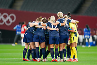 21st July 2021; Sapporo, Japan; Team huddle Great Britain prior to the womens Olympic Football Tournament Tokyo 2020 match between Great Britain and Chile at Sapporo Dome in Sapporo, Japan. Great Britain won the game by a score of 2-0