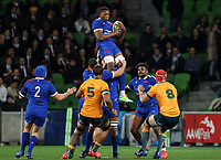 13th July 2021; AAMI Park, Melbourne, Victoria, Australia; International test rugby, Australia versus France; Cameron Woki of France catches the high ball