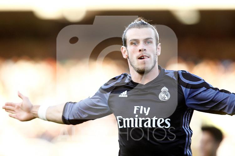 Real Madrid's Garet Bale celebrates goal during La Liga match. August 21,2016. (ALTERPHOTOS/Acero)