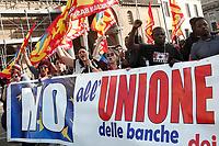 Roma 25-03-2017. Manifestazione Euro stop, No all'Unione Europea delle banche. <br /> Rome March 25th 2017. Demonstration against European Union of the banks, titled Euro stop.<br /> Foto Samantha Zucchi Insidefoto