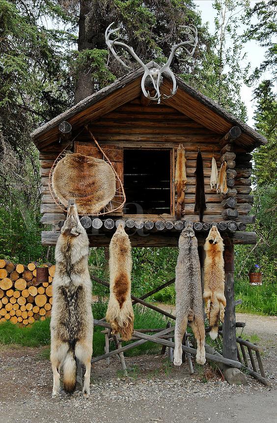 Traditional food cache, Athabascan, Chena Indian Village, Alaska