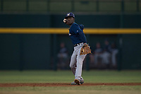 AZL Brewers second baseman Edwin Sano (8) prepares to make a throw to first base during an Arizona League game against the AZL Cubs 1 at Sloan Park on June 29, 2018 in Mesa, Arizona. The AZL Cubs 1 defeated the AZL Brewers 7-1. (Zachary Lucy/Four Seam Images)