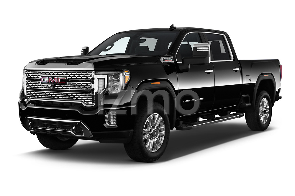 2020 GMC Sierra-2500-HD Denali 4 Door Pick-up Angular Front automotive stock photos of front three quarter view