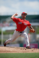 Boston Red Sox pitcher Francisco Lopez-Soto (51) delivers a pitch during a Florida Instructional League game against the Baltimore Orioles on September 21, 2018 at JetBlue Park in Fort Myers, Florida.  (Mike Janes/Four Seam Images)