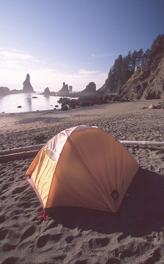 Camping Alongside the Pacific Ocean at Shi Shi Beach, Olympic National Park, Washington, US