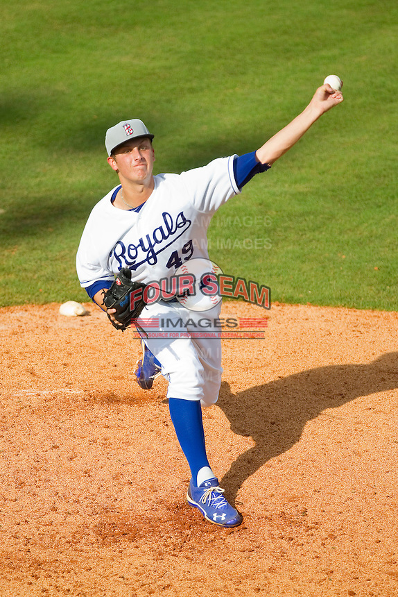 Burlington Royals starting pitcher Matt Tenuta (49) in action against the Princeton Rays at Burlington Athletic Park on July 5, 2013 in Burlington, North Carolina.  The Royals defeated the Rays 5-1 in game one of a doubleheader.  (Brian Westerholt/Four Seam Images)