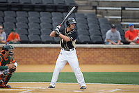 Stuart Fairchild (4) of the Wake Forest Demon Deacons at bat against the Miami Hurricanes at Wake Forest Baseball Park on March 22, 2015 in Winston-Salem, North Carolina.  The Demon Deacons defeated the Hurricanes 10-4.  (Brian Westerholt/Four Seam Images)