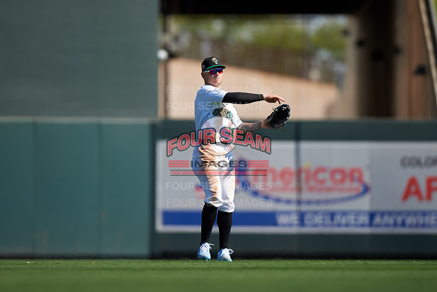 Surprise Saguaros center fielder Kyle Isbel (12), of the Kansas City Royals organization, during the Arizona Fall League Championship Game against the Salt River Rafters on October 26, 2019 at Salt River Fields at Talking Stick in Scottsdale, Arizona. The Rafters defeated the Saguaros 5-1. (Zachary Lucy/Four Seam Images)