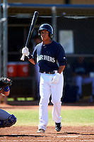 Seattle Mariners minor league outfielder Isaiah Yates #18 during an instructional league game against the Kansas City Royals at the Peoria Sports Complex on October 2, 2012 in Peoria, Arizona.  (Mike Janes/Four Seam Images)